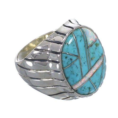 Opal And Turquoise Silver Jewelry Ring Size 12-1/4 AX55536