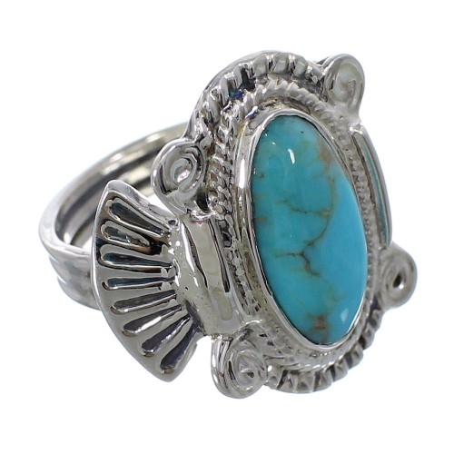 Genuine Sterling Silver Turquoise Ring Size 7-1/4 EX56265