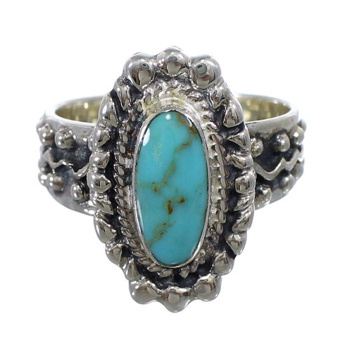 Southwest Genuine Sterling Silver Turquoise Ring Size 6-1/4 EX56388