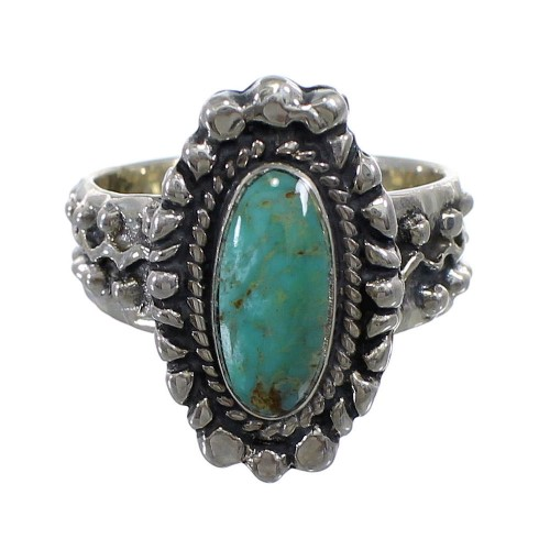 Turquoise Genuine Sterling Silver Ring Size 7 EX56394