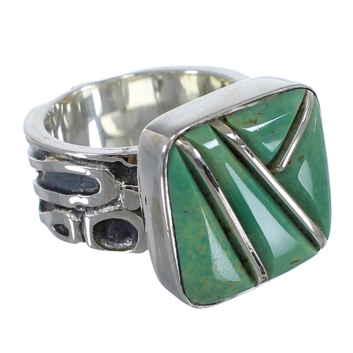 Southwestern Turquoise Inlay Silver Ring Size 5-1/4 AX55610