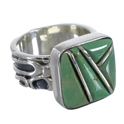 Turquoise Inlay Southwestern Silver Jewelry Ring Size 8 AX55618