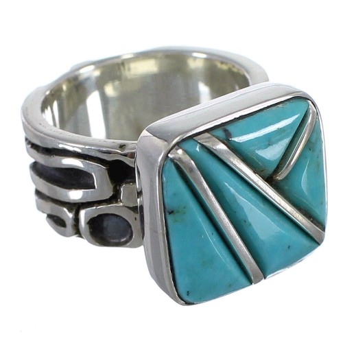 Southwest Turquoise Sterling Silver Ring Size 7-1/2 YX87717