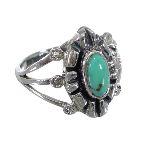 Silver Southwest Turquoise Ring Size 7-3/4 AX61154
