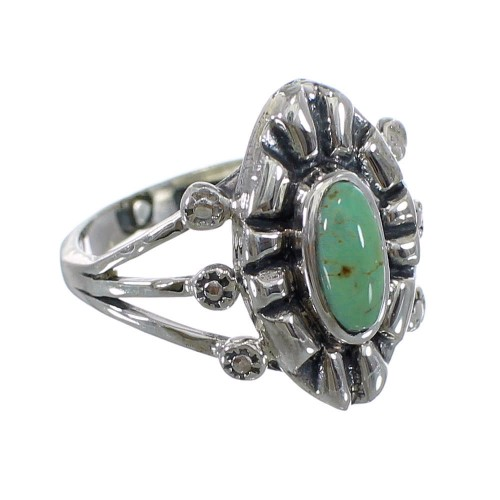 Sterling Silver Southwestern Turquoise Ring Size 7-1/4 AX61188