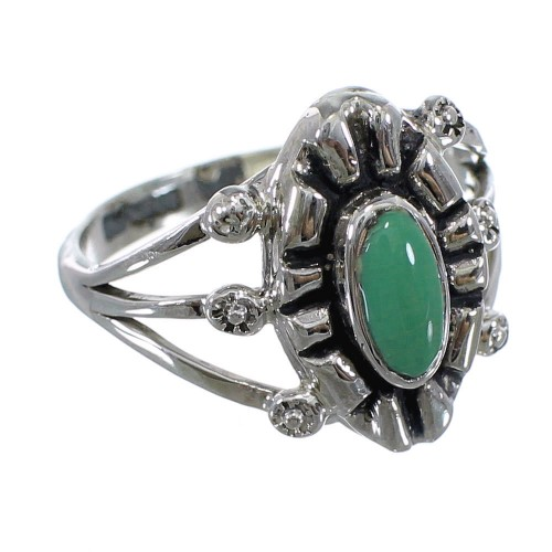 Southwest Turquoise Authentic Sterling Silver Ring Size 8-1/2 AX61228