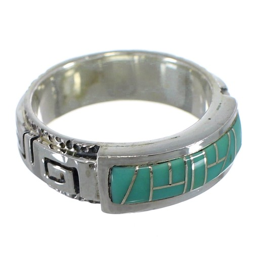 Turquoise Inlay Silver Water Wave Ring Size 6-3/4 AX64334