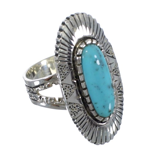 Sterling Silver And Turquoise Southwestern Jewelry Ring Size 6-3/4 VX56947