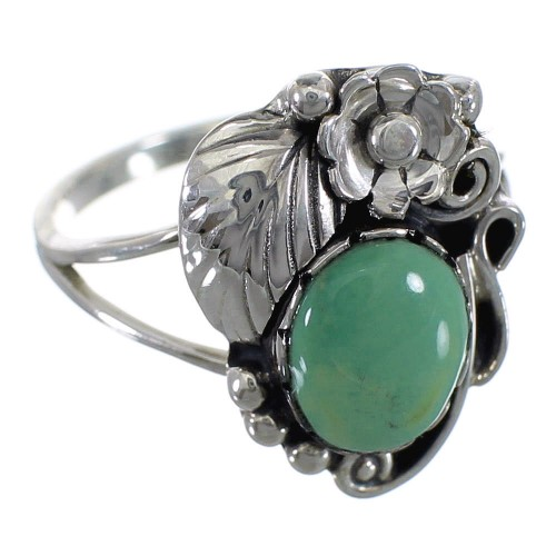 Southwest Turquoise And Silver Flower Jewelry Ring Size 5-1/4 VX57167
