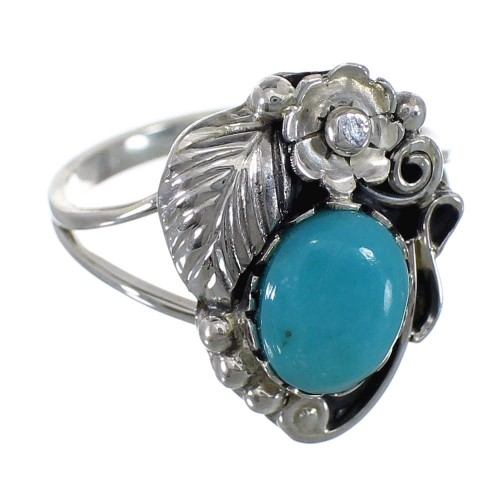 Southwest Turquoise And Silver Flower Ring Size 5 WX81378
