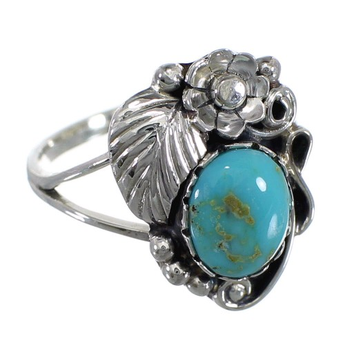 Southwestern Sterling Silver And Turquoise Flower Ring Size 6 WX79114
