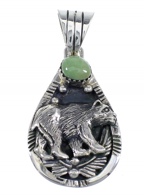 Southwest Authentic Sterling Silver And Turquoise Bear Pendant RX54470