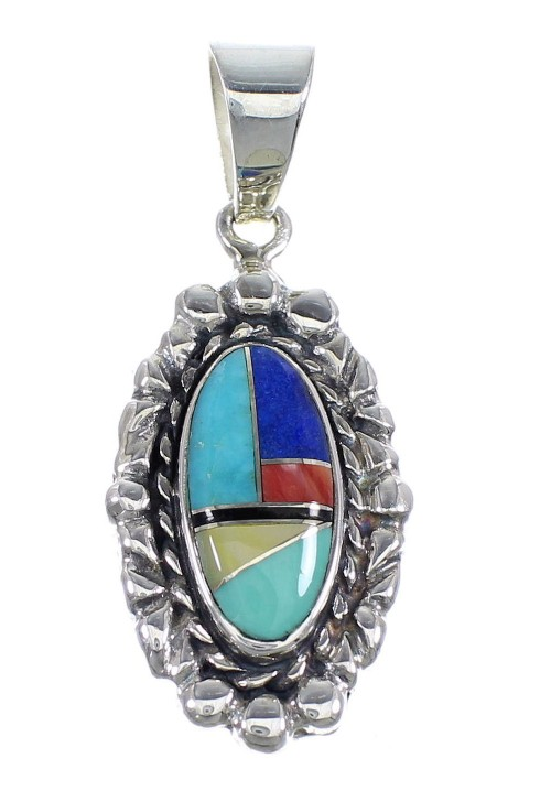 Multicolor Inlay Sterling Silver Slide Pendant RX54491