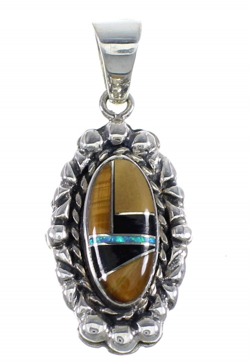 Sterling Silver Multicolor Inlay Slide Pendant RX54494