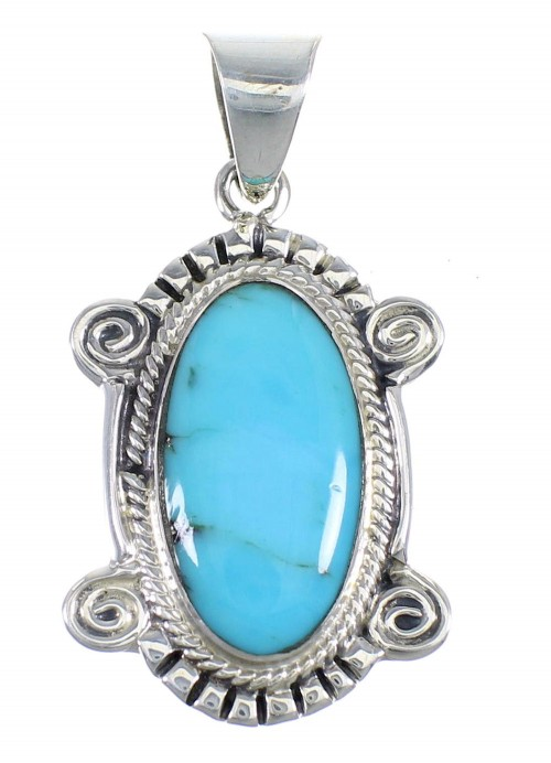 Sterling Silver And Turquoise Southwest Slide Pendant Jewelry VX54984