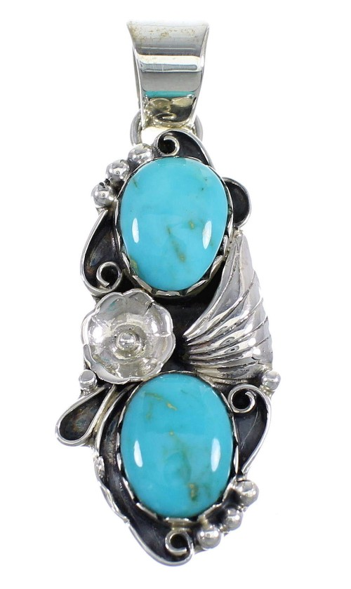 Southwestern Sterling Silver And Turquoise Flower Slide Pendant Jewelry VX55039