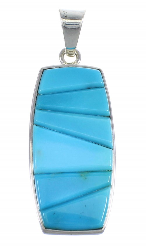 Turquoise And Genuine Sterling Silver Southwest Slide Pendant Jewelry VX55062