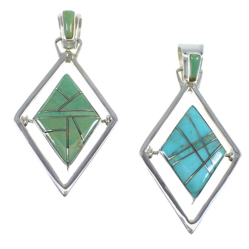 Southwestern Silver And Turquoise Reversible Pendant RX54630