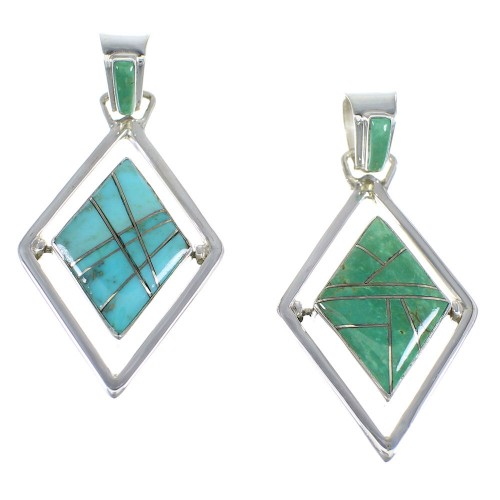 Silver And Southwest Turquoise Reversible Pendant RX54632