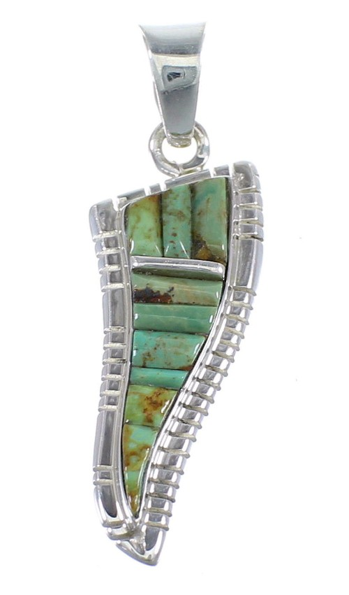 Southwestern Turquoise Inlay Sterling Silver Slide Pendant JX54261
