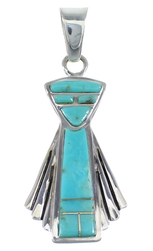 Southwest Turquoise Inlay Sterling Silver Pendant RX54321