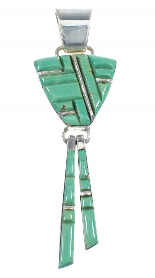 Silver Turquoise Inlay Southwest Pendant RX54350