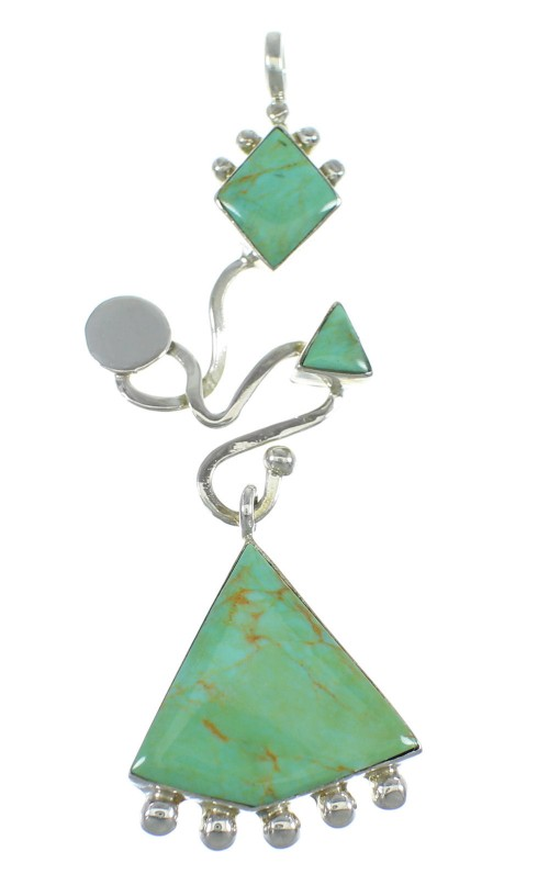 Genuine Sterling Silver And Turquoise Southwest Pendant WX57864