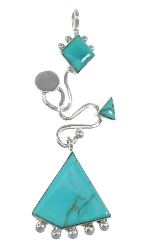 Turquoise And Genuine Sterling Silver Slide Southwest Pendant WX57879