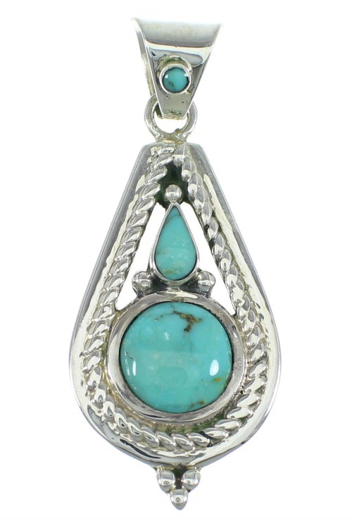 Southwestern Turquoise And Sterling Silver Slide Pendant WX57941
