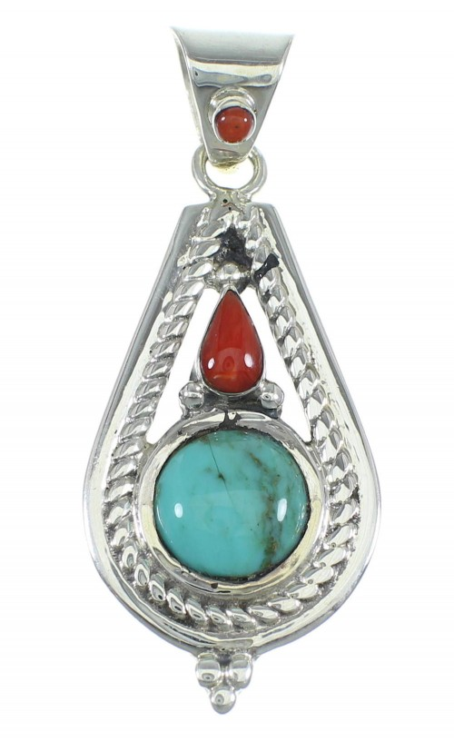 Southwest Turquoise And Coral Sterling Silver Slide Pendant WX57948