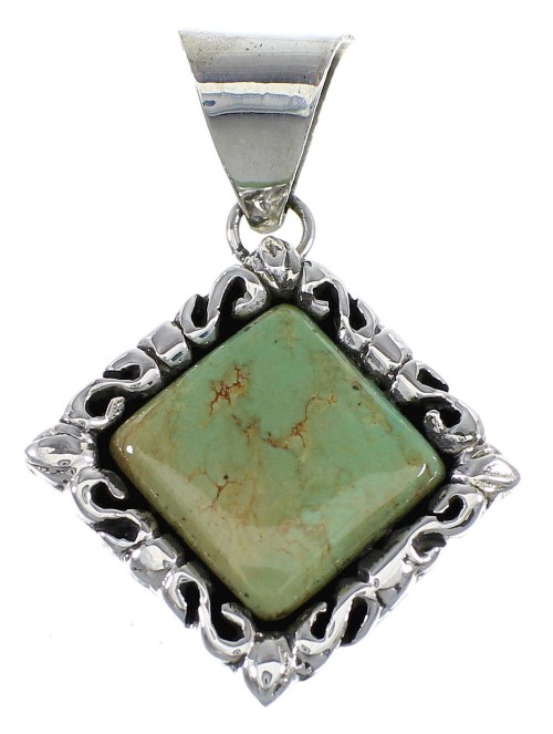Authentic Sterling Silver And Turquoise Southwestern Pendant Jewelry VX55329