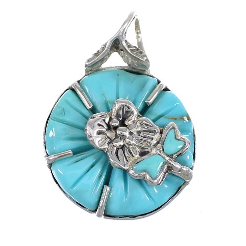 Southwest Turquoise Flower Dragonfly Sterling Silver Pendant WX58163