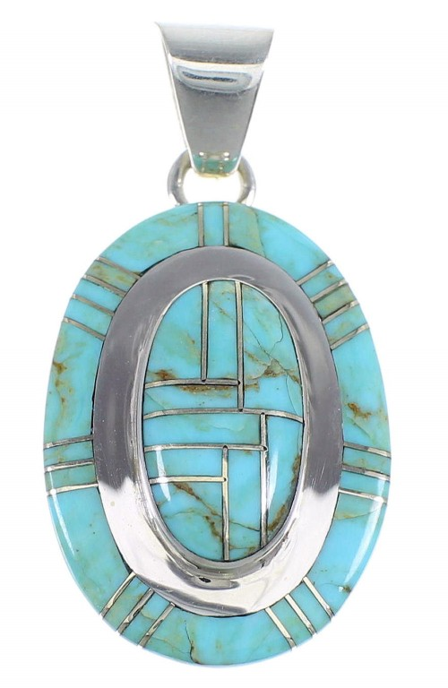 Turquoise And Authentic Sterling Silver Pendant Jewelry VX54724