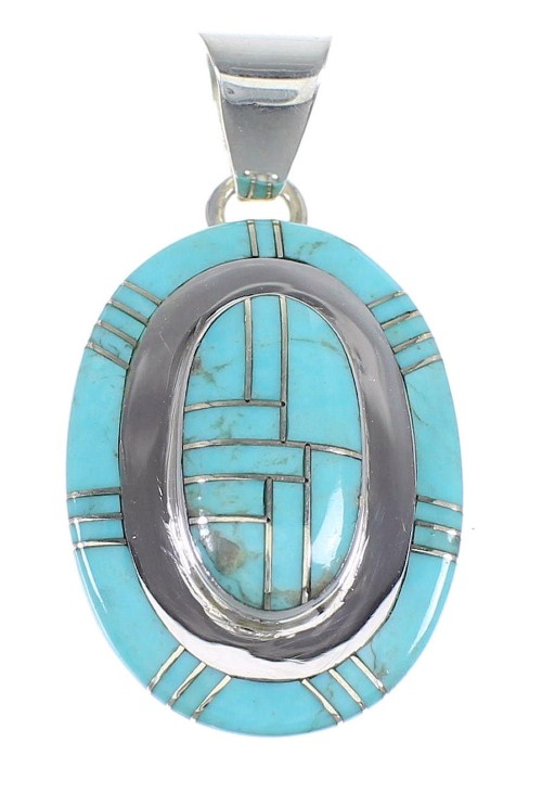 Genuine Sterling Silver And Turquoise Pendant Jewelry VX54727
