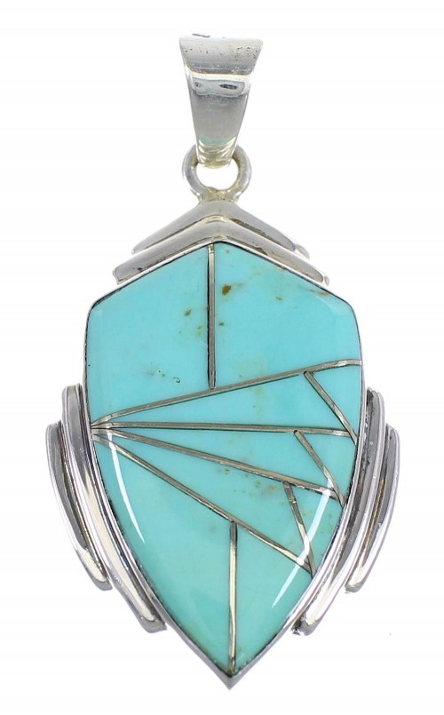Sterling Silver And Turquoise Inlay Southewestern Pendant VX54754