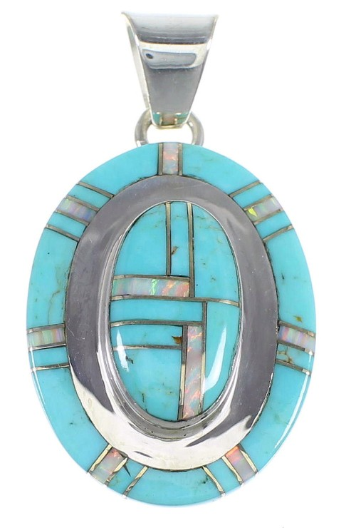 Turquoise And Opal Authentic Sterling Silver Pendant Jewelry VX54831