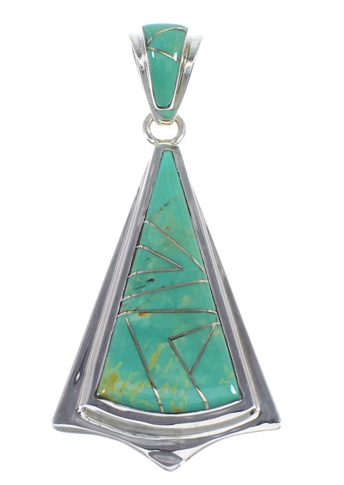 Turquoise Inlay And Sterling Silver Southwest Pendant VX55395