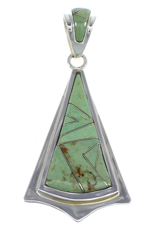 Turquoise Inlay And Genuine Sterling Silver Pendant Jewelry VX55397