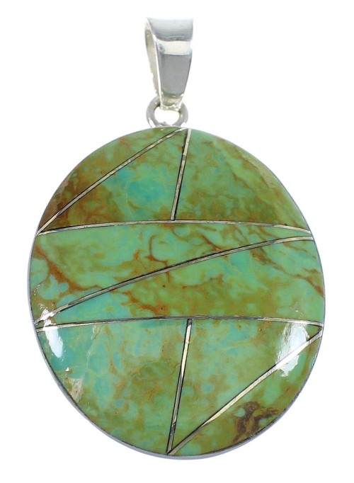 Turquoise Inlay And Genuine Sterling Silver Southwestern Pendant VX55419