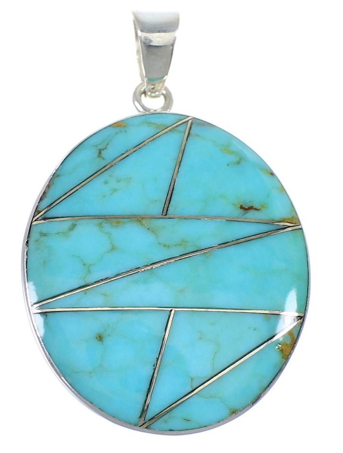 Turquoise Inlay And Authentic Sterling Silver Pendant VX55428
