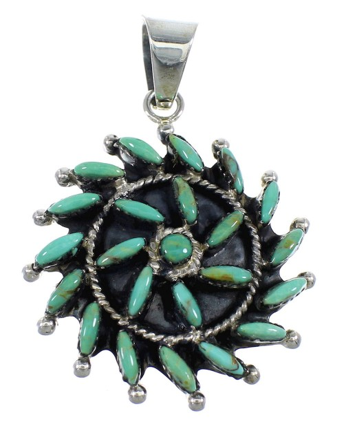 Sterling Silver And Turquoise Needlepoint Southwest Pendant VX55477