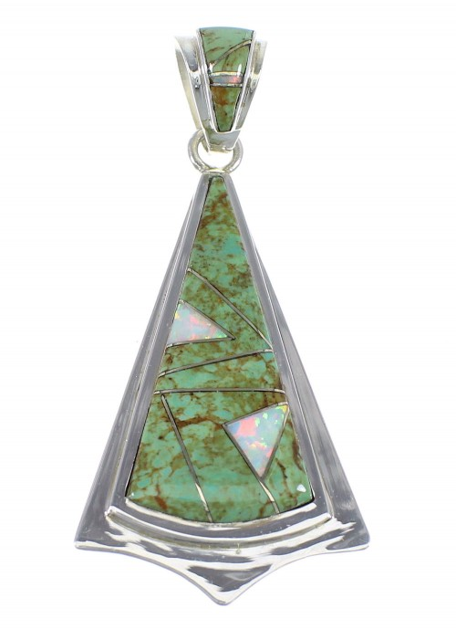 Southwest Turquoise And Opal Inlay Genuine Sterling Silver Pendant VX55539