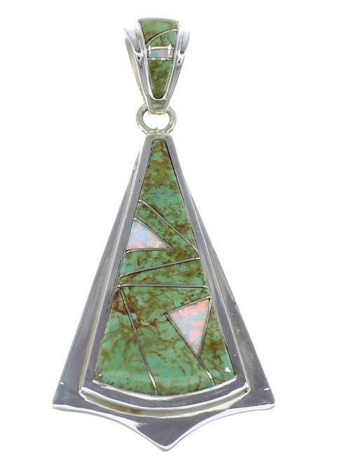 Turquoise And Opal Inlay Genuine Sterling Silver Pendant VX55553