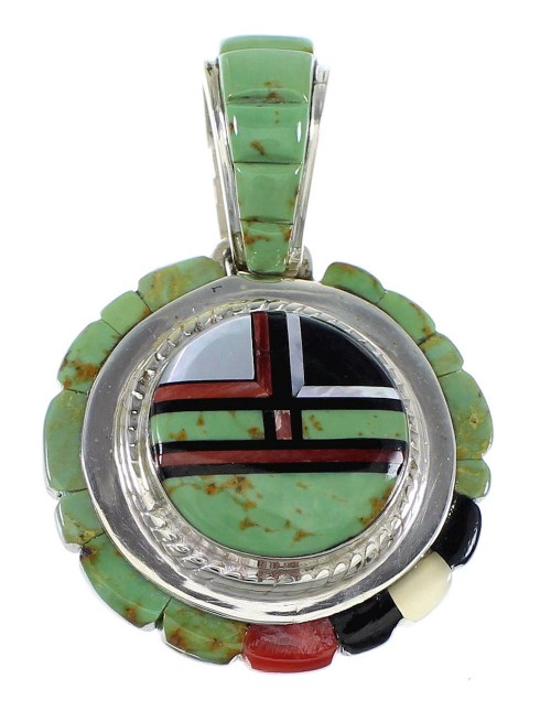 Southwest Sterling Silver Multicolor Inlay Slide Pendant Jewelry VX55782