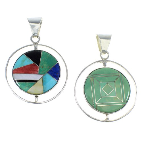 Multicolor And Silver Reversible Southwestern Pendant VX55804
