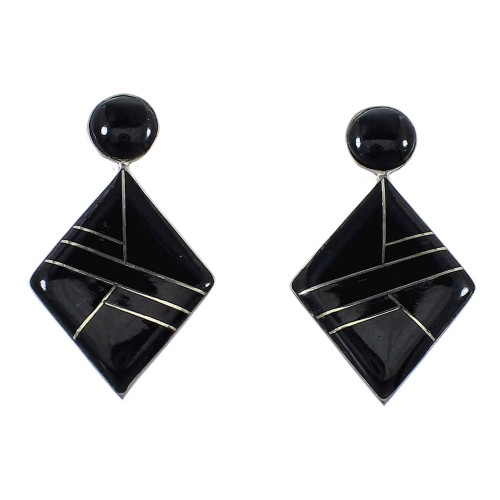 Genuine Sterling Silver Jet Inlay Post Earrings RX56119