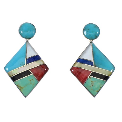 Authentic Sterling Silver Multicolor Inlay Post Earrings RX56128