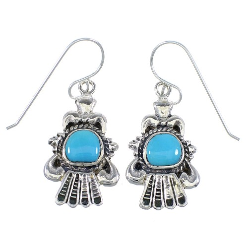 Turquoise And Sterling Silver Hook Dangle Earrings RX55788
