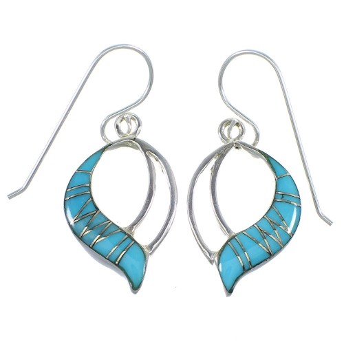 Silver And Turquoise Southwestern Hook Dangle Earrings VX56142