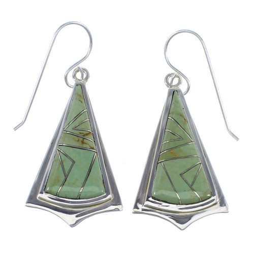 Southwest Turquoise Inlay And Authentic Sterling Silver Hook Dangle Earrings VX56155
